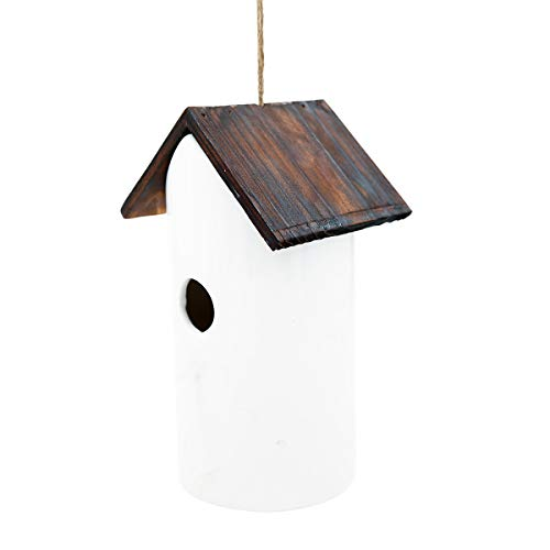bird houses Bird Houses White Ceramic and Wooded Restful Birdhouse for Outdoor Garden Porch Patio Country Decoration, Restful