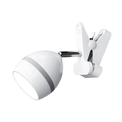 ANNAITE Cilp on Light, 360° Rotation Clip on Lamp Portable Book Reading Light,Clamp on Desk/Table/Bunk Bed/Cupboard Home Lighting,Battery Operated/Plug in/USB-Grey White