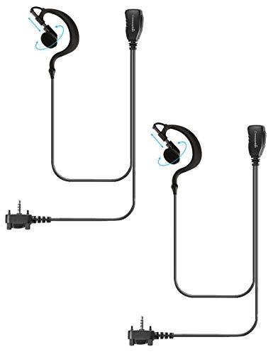 2 Pack Single Wire Earhook Earpiece for Motorola Vertex Radios VX-210 VX-231 VX-261 VX-264 VX-351 VX-354 VX-410 VX-424 VX-450 VX-451 VX-454 VX-459 EVX-261 EVX-531 EVX-534 EVX-539, G Shape Headset