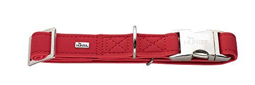 HUNTER SOFTIE ALU-STRONG Hundehalsung, Hundehalsband, Kunstleder, Aluminium Klickverschluss, L, rot