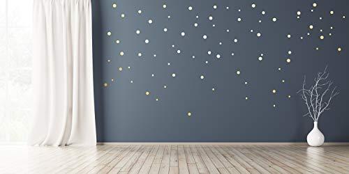 Wandtattoo Punkte Mix Gold Silber Kupfer in 3 Größen 110 Stück selbstklebend Wandsticker Aufkleber Farbe Gold