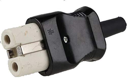 Lichtidee Heißgeräte Bakelit Duroplast Stecker SCHWARZ für Waffeleise, Bügeleisen alte Norm für bis zu3x1qmm Kabel zum selber konvektionieren