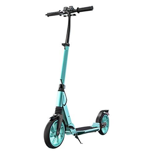 JSZHBC Plegable de Ciudad de Viajes de Trabajo Herramienta de Campus de la Ciudad Adultos Kick Scooter Plegable de Altura Ajustable Varilla, no eléctricos Scooter clásico (Color : Green)