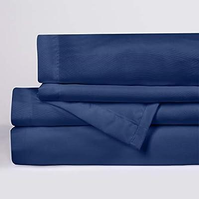 Microfiber 4 Piece Full Bed Sheet Set Navy Blue