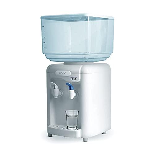 Sogo SS-12010 Dispensador y enfriador de agua eléctrico de 2 grifos, depósito 7 litros, Blanco SIN BPA