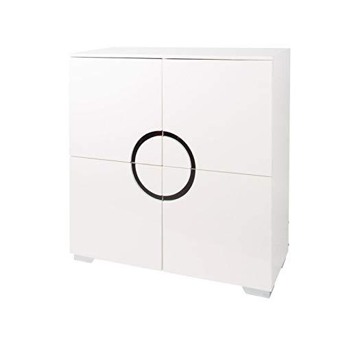 Dressoir hoge 4 deuren van gelakt hout, wit en verchroomde voeten Marc – L 120 x B 50 x H 125