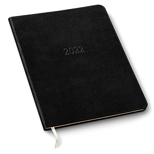 """Personalized or Non-Personalized 2021/2022 Leather Large Monthly Planner, by Gallery Leather, 9.75""""x7.50"""" (Acadia Black)"""