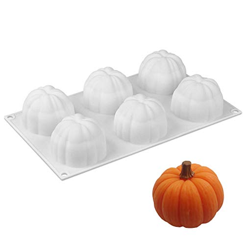 ManYee Silicone Molds Halloween Pumpkin Shape 6-Cavity 3D Baking Molds Dessert Molds for Mousse Cake Pastry Truffle Pudding Jelly Cheesecake White