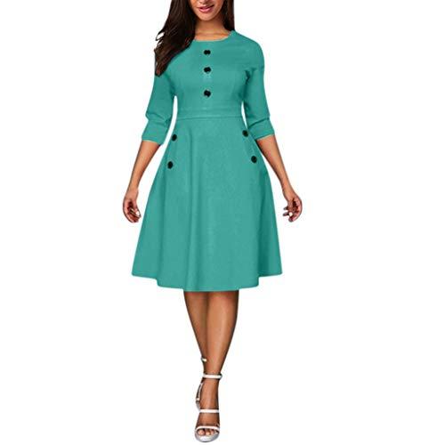 Damen Vintage Kleid 3/4 Ärmel Retro Cocktailkleid Rockabilly O-Ausschnitt Faltenrock Partykleider...