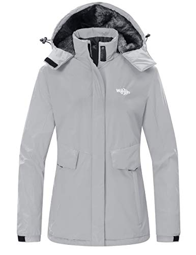 Wantdo Women's Snowboarding Jacket Windproof Ski Coat Waterproof Rain Wear Gray L
