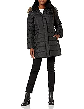 Fleet Street Ltd Women s Classic Down Coat with Faux Fur Hood Black Large