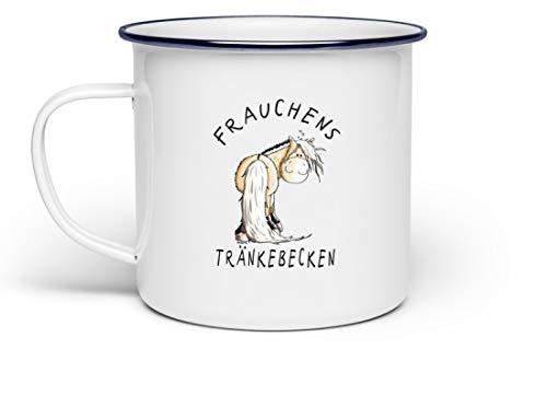 Shirtee Frauchens Tränkebecken Norweger Pferd I Trinknapf Tasse Fjordpferd I Pferde Geschenke - Emaille Tasse -Einheitsgröße-Weiß