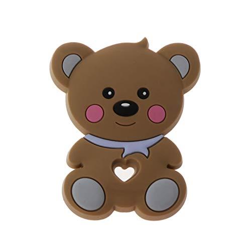 Tvvudwxx - Giocattolo per dentizione per bambini, giocattolo da masticare a forma di orso animale, in silicone