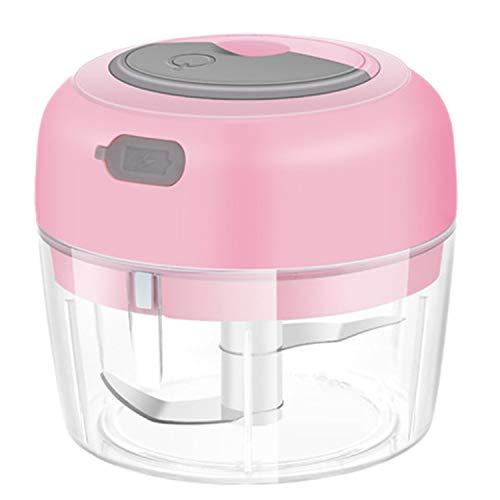 bobotron Máquina eléctrica de ajo, picador de ajo, máquina de cocina pequeña, inalámbrica, jengibre, cebolla, especias, molinillo de carne, lobo, cocina, licuadora USB, color rosa
