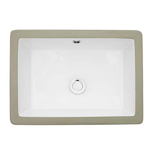 Undermount Vessel Sink Rectangle - Loymey 18'x12' Bathroom Sink Pure White Rectangle Porcelain Ceramic Lavatory Vanity Vessel Sink Bowl Basin
