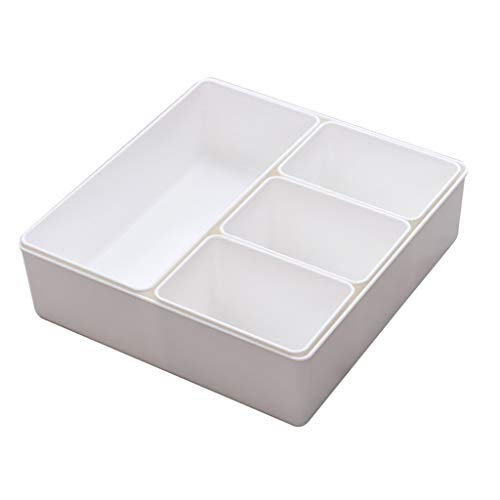 Liuhoulin Make-up-Lagerregal Desktop-Aufbewahrungsbox Haushalt Schublade Fach Aufbewahrungsbox Desktop-Kosmetik-Fach Ablageschale Küche Schutt sortieren Box (Color : White, Size : 29.5...