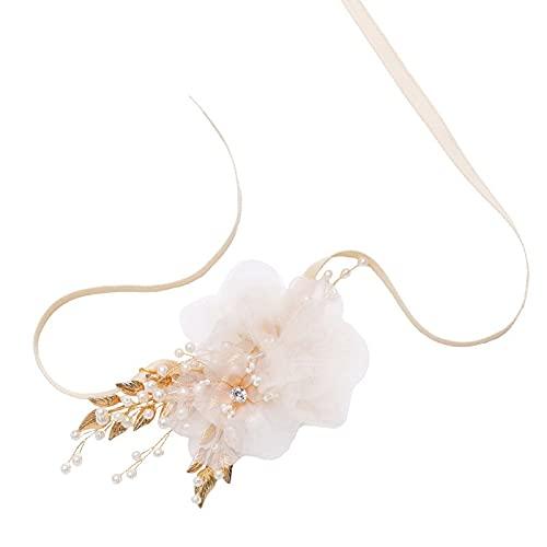 XiaoYing Accesorios de boda Pulsera de dama de honor Pulsera de boda Pulsera de flores de la cinta de la flor de la perla de la novia regalo de la muñeca flor (color: A, tamaño: M)