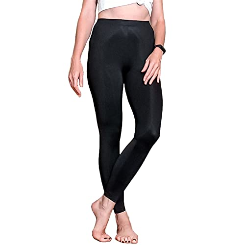 Linyuex Mujeres Hielo Silida Leggings Spring Summer Fin Thin Deporte Entrenamiento Leggings High Stretch Black Black Slim Fitness Leggings (Color : Black, Size : 44 46 (M L))