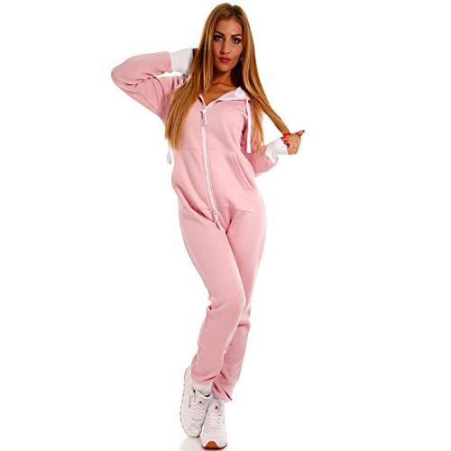 Crazy Age Basic Jumpsuits Ganzkörperanzug Einteiler One Piece Schlafanzug Overall Damen Jumpsuit Kuschelig und warm (Rosa) - 2