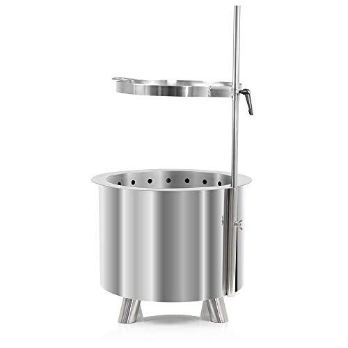 BBQ-Toro Edelstahl Feuertonne Ø 46 cm | mit Edelstahl Grillrost Ø 36 cm und Erdspieß | Moderne Feuerstelle mit Kamineffekt (Set aus Feuertonne und Grillrost mit Erdspieß)