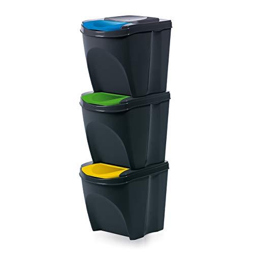 Mülltonne Sorti Box Sortibox Mülleimer Mülltrennsystem Abfall Segregation Müllsäcke Abfallbehälter Recycling Müllsortierer (3 x 25 L, Anthrazit)