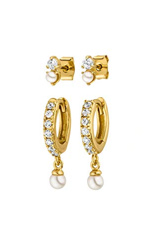 PAUL VALENTINE Earrings for women - Ariel earrings and Stud set in gold - 18ct gold plated - with high quality zirconias - jewellery for women