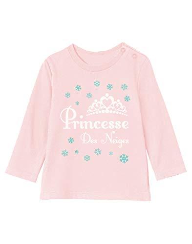 Green Turtle T-Shirts Princesse des Neiges Naissance Hiver Noël T-Shirt Bébé Unisex Manches Longues 18-24M 89/93cm Rose Pale