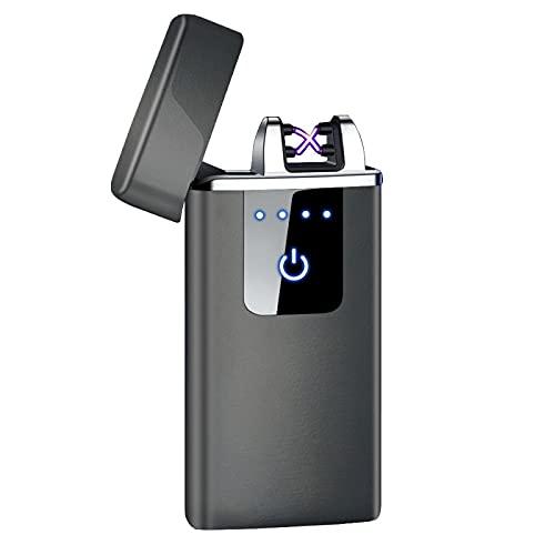 Encendedores, encendedor eléctrico, encendedor de arco, encendedores USB de doble arco electrónico recargable de inducción Power Display a prueba de viento Gadgets para hombres HB-021-negro
