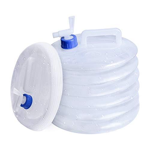 KIBTOY Faltbarer Wasserkanister, Wasserbehälter Wassertank, mit Wasserhahn,BPA-freier Wassertank-Wassertank für Camping Wandern Angeln Klettern Picknick BBQ Reisen im Freien (15L)