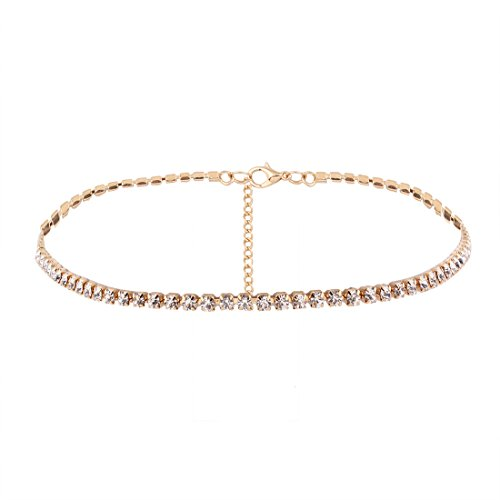 YAZILIND Frauen Schmuck Einstellbare Braut Hochzeit Choker Halskette Strass Legierung Kette Choker (Gold Collier)