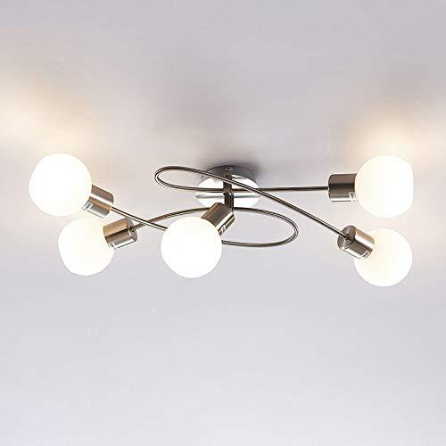 Lindby LED Deckenlampe Glas Metall | 5 flammig inkl. 5 x 4W E14 LED Leuchtmittel A+ | LED Deckenleuchte nickel matt/chrom | Deckenstrahler warmweiss (3.000K) | Strahler (5 x 400lm)