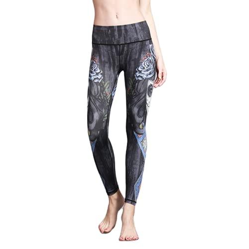 QTJY Pantalones de Yoga Impresos Fitness para Deportes al Aire Libre Europeos y Americanos, Leggings elásticos de Ejercicio Push-up CS