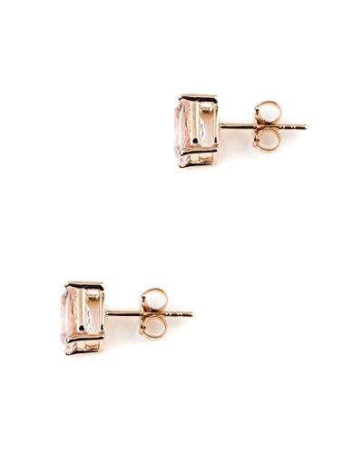 Jaipuri.Instyle - Damen Ohrstecker - 585er Gold (14 K) - Morganit (AAA-Qualit䴩 Kissenschliff - E1958MG_14KRG