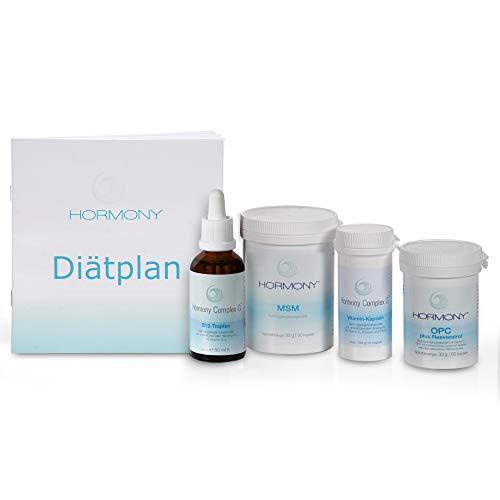 Hormony® Diät Komplett Set: Hormony Complex G® B-12 Tropfen, OPC plus Resveratrol, MSM und Vitamin Kapseln & Diätplan