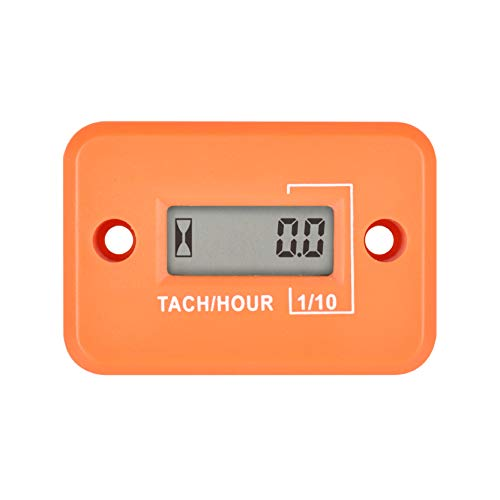 Runleader Digital Mini Tach Hour Meter,TOT Hours Accumulate,Real-time RPM Display,Battery Operation for ZTR Lawn Mower Tractor Generator Outboard ATV Chainsaw Marine Snowblower. (Orange)