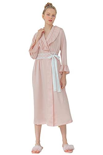 FyoFya Kimono Albornoz para Mujer Batas y kimonos Satín sedoso Volante fruncido Camisón Robe Dama de honor Ropa de dormir Pijama Para fiesta Spa Hotel Sauna con Cinturón (Rosado, One Size)