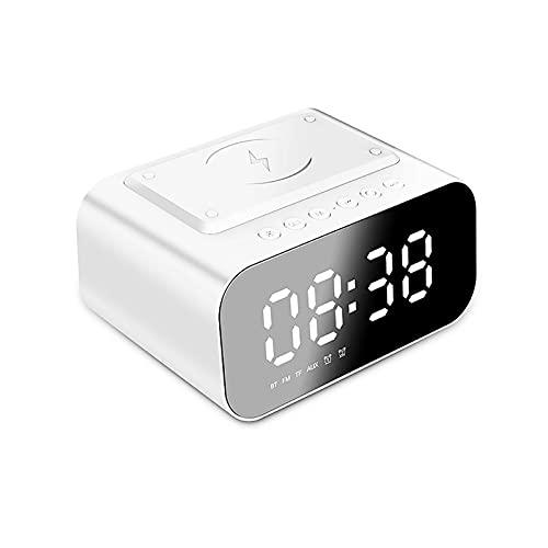Lvbeis Altavoces Portátiles Bluetooth Pantalla de Espejo LED Ajustable Admite Múltiples Métodos de Conexión Puede Responder Llamadas Altavoz Bluetooth Inteligente,White