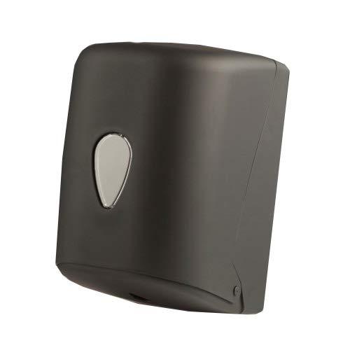 Dispensador de papel secamanos en bobinas de papel mecha o cheminé. Con un diseño moderno y vanguardista en acabado negro aterciopelado