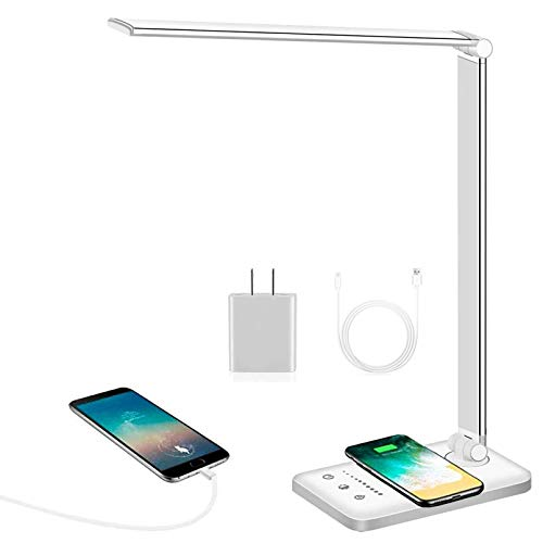 LED Desk Lamp, FFTONG Office Lamp with Wireless Charger & Adapter, USB Charging Port, Touch Control, 5 Lighting Modes & 5 Brightness Levels, Auto Timer, Dimmable Eye-Caring Table Light, Silver
