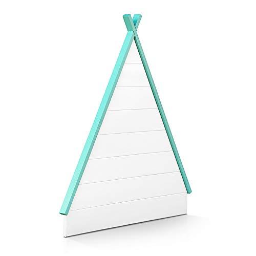 SUENOSZZZ-ESPECIALISTAS DEL DESCANSO Cabecero de Madera Infantil Hut para Camas de 90 (90 x 104 cm) Acabado en Blanco Tejado Verde Menta