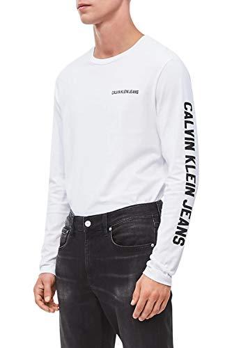 Calvin Klein Jeans T-shirt à manches longues homme number tee instit l/s tee j30j313239 s blanc