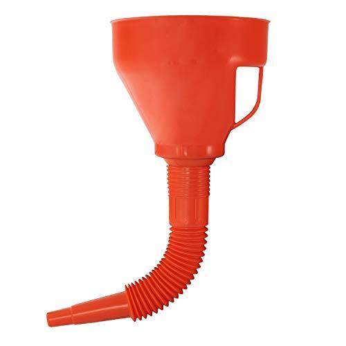 Nirox Embudo Universal de 1,2 litros - Embudo de llenado de Aceite con Amplio margen de rebosamiento - Boca de llenado extraíble - Embudo de Gasolina con Tubo Flexible - Embudo de plástico