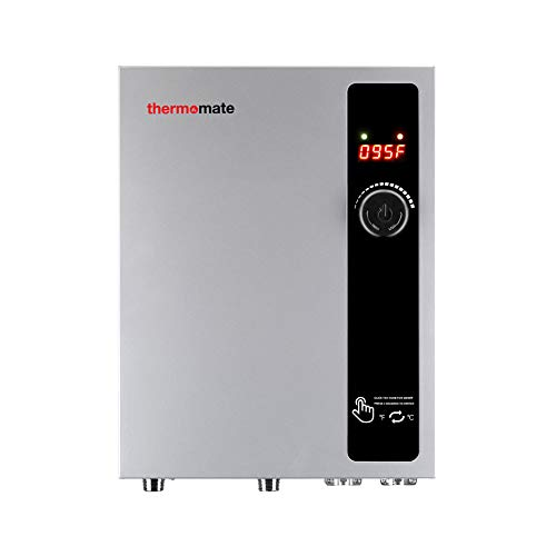 Tankless Water Heater Electric 27kW 240 Volt, thermomate On Demand Instant Endless Hot Water Heater, Digital Temperature Display for Residential Whole House Shower, 114A GRAY