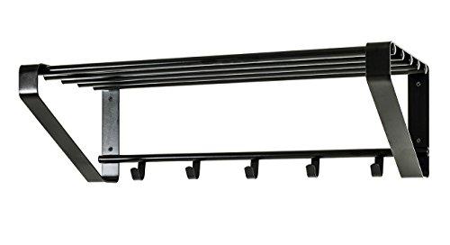 HAKU Möbel 32502 Wandgarderobe, Metall, Schwarz, 30 x 65 x 20 cm