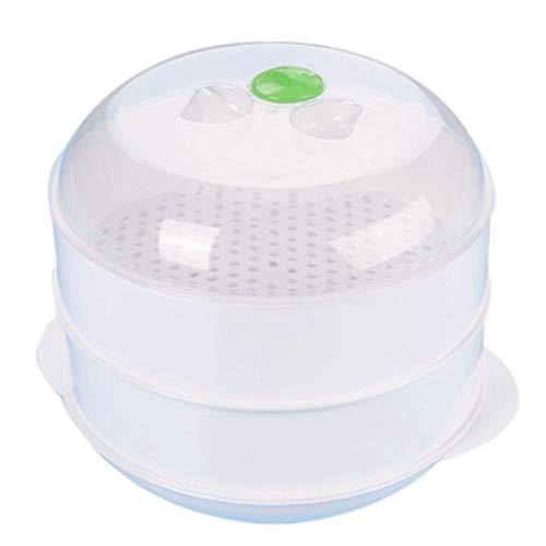 CHYSP Blanco Capa Doble Práctica plástico Doble plástico vaporización microondas Horno vaporizador Redondo