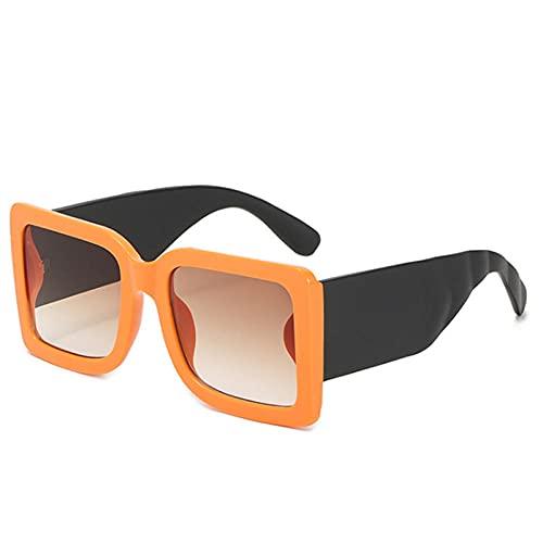 Gafas De Sol Hombre Mujeres Ciclismo Gafas De Sol Cuadradas para Hombre Gafas De Sol Verdes Clásicas para Mujer Gafas Rectangulares De Moda Vintage-Naranja