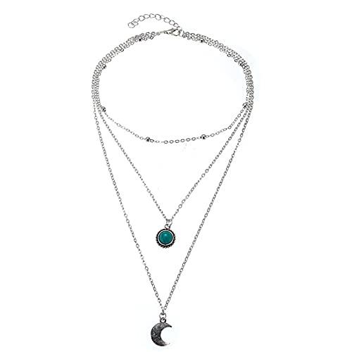 FENGGUO Collar con colgante de luna con capa de turquesa bohemia, chapado en plata y media luna para mujeres y niñas