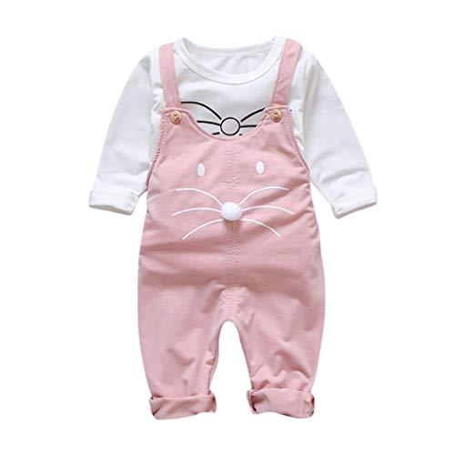 0-4 Años,SO-buts Niños Pequeños Bebé Niña Otoño Invierno Dibujos Animados Encantadores Camisetas Camiseta Trajes Trajes Pantalones Trajes Conjunto (Rosado,1-2 años)