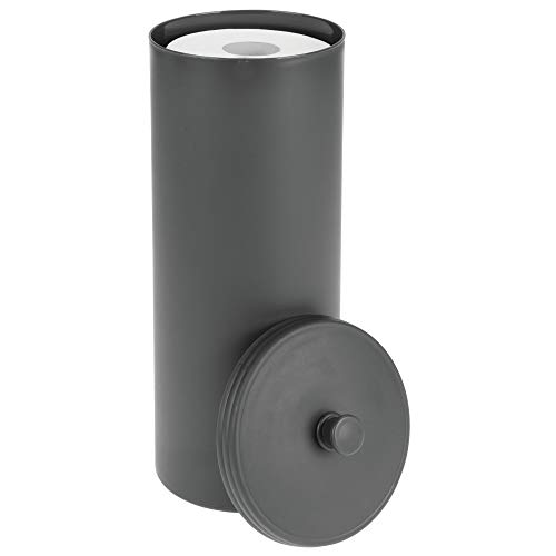 mDesign Plastic Free Standing Toilet Paper Holder Canister - Storage for 3 Extra Rolls of Toilet Tissue - for Bathroom/Powder Room - Holds Mega Rolls - Charcoal Gray