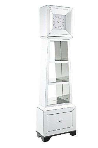 Major-Q 9097048 63' H Modern Glam Style1 Drawer Beveled Mirror Case Frame Wooden Bracket Feet Grandfather Floor Clock